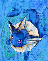 Vaporeon under water by Kitrei-Sirto