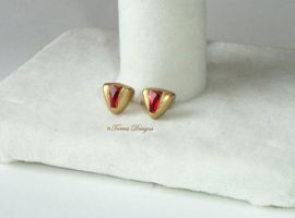Goron Ruby 14K Gold Post Earrings Zelda #2 by TorresDesigns