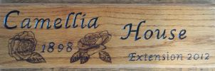 Camellia house sign varnished by ArrowTurtle