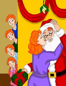 Mommy kissing Santa Claus by DKCissner