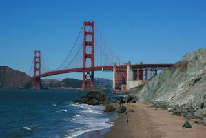 Golden Gate Bridge as seen from Marshall Beach by Dr-J-Zoidberg