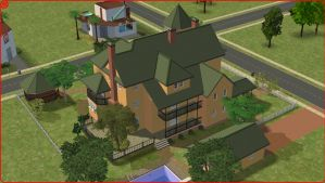 Sims 2 Yellow colonial home by RamboRocky