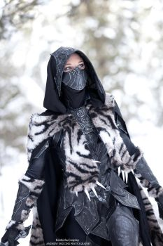 Nightingale Armor Cosplay with Sabre Cat Pelt 2 by Beebichu