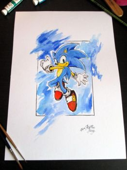 Sonic in Watercolour by SkittlesKing