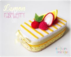 Lemon and Raspberry Cake Felt Box by CraftersBoutique