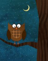 Owl at the Moon by goodmorningvoice