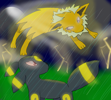 Umbreon VS Jolteon by redfeather522
