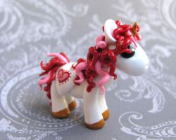Red Valentine Unicorn by DragonsAndBeasties