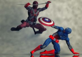 Cap America vs Deadpool by hiram67