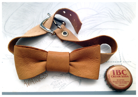 Leather Bow Tie by Hauket