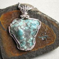 Turquoise Nugget Pendant by PurlyZig