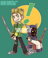 Riley and Kotemon by hielorei