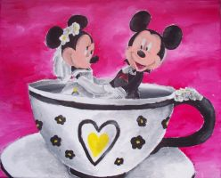 Mickey and Minnie Wedding Cup by billywallwork525