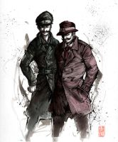 Mario and Luigi detective style by MyCKs