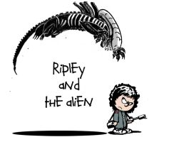Ripley and The Alien by skonenblades