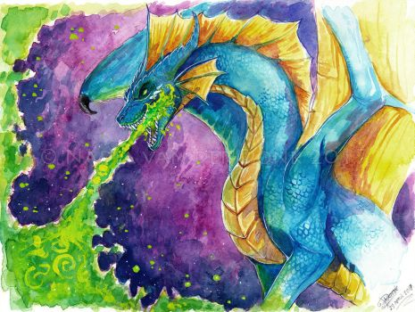Watercolor - Becaria the Dragon by NadiavanderDonk