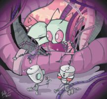 Tak and Zim, Gir and Mimi by StellaB