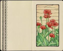 Poppies - moleskine by me-tal