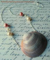 Peach Sea Shell Necklace by Forbiddenynforgotten