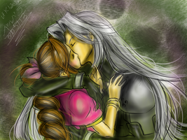 Sephiroth And Aerith (Kiss) by uekiOdiny