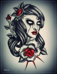 girl with rose tattoo flash by oldSkullLovebyMW
