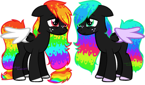 Rainbu sisters adoptables -first one open- by SecretMonsters
