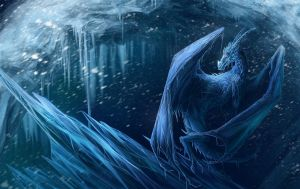 Frozen dragon by Alaiaorax