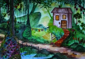 Forest House (watercolor) by AlexandraDart