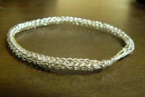Simple Silver Viking knit bracelet by NightPhoenixArt