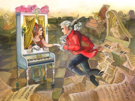 Mozart finds his muse by BlueBirdie