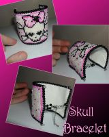 Girlie Skull Beaded Bracelet Commission by kayanah