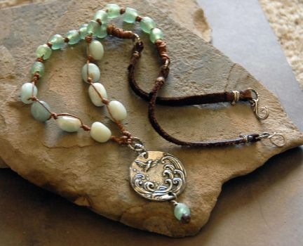 Knotted bead and pendant necklace by deej240z