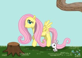 My little Pony: Fluttershy and Angel by melodyshy
