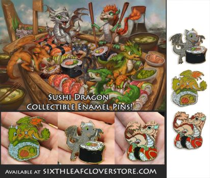 The Sushi Dragon Rollers Enamel Pins by The-SixthLeafClover