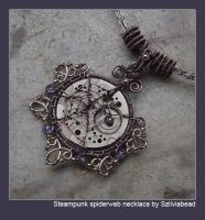 Steampunk spiderweb necklace by bodaszilvia