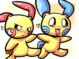 Art Trade - Plusle and Minun by cduki
