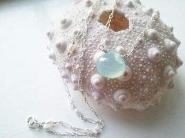 Pale Aqua Chalcedony Mermaid Necklace by QuintessentialArts