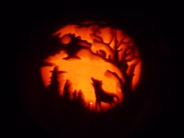 Wolf at night Pumpkin by GTracerRens