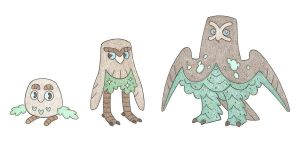 Moss owls by thefirebreather