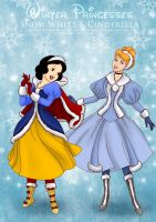 Winter Snow White n Cinderella by selinmarsou