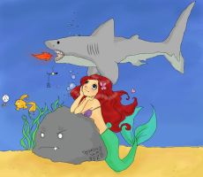 Ariel With FireBreathing Shark by CaptinAzra