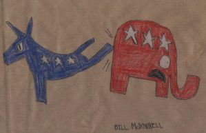 Democrat Donkey Kicking Republican Elephant by FireshockerBill
