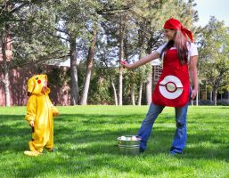 Pokemon Breeder and Pikachu 02 by HeatherCosplay