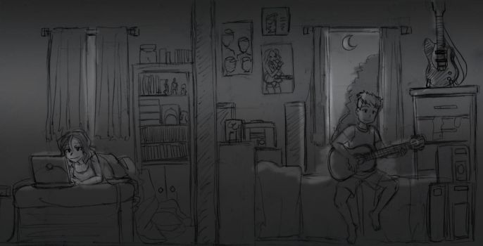 Norry and Blake - Bed Sketches by majorkerina