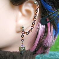 Halloween Kitty Earring by merigreenleaf