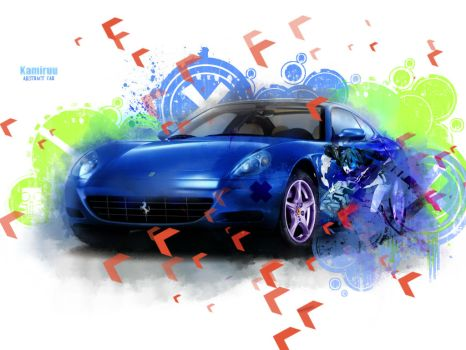 Abstract Blue Car by K4m3l0r7