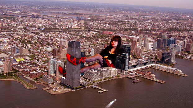 Giantess Melissa in the Streets by dochamps