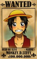 .:Luffy:. WANTED by Lilicia-Onechan