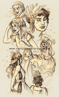 Sketch 02 04 12_Ladies and headdresses by Vaelyane