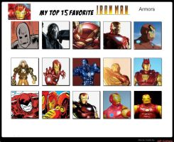 Top 15 Favorite Iron Man Armors by JefimusPrime